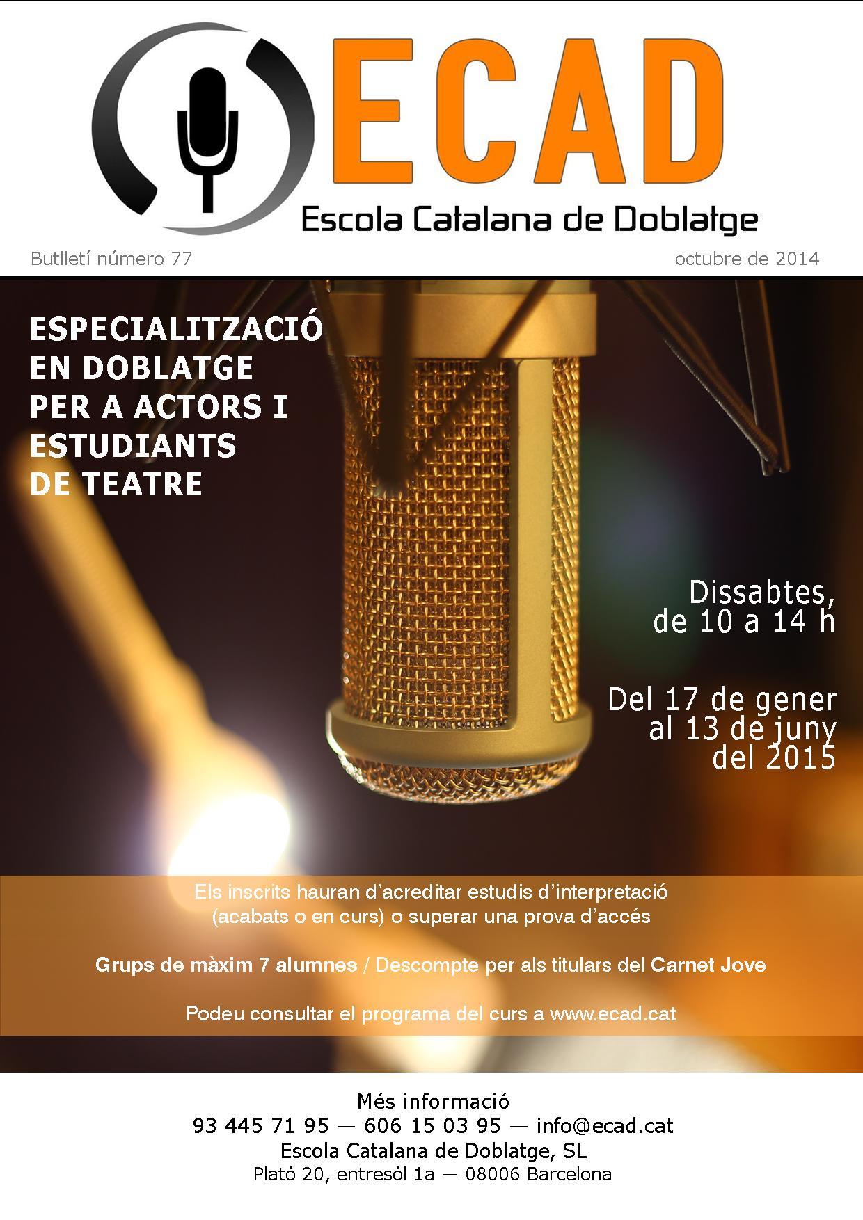 Especialización en doblaje para actores y estudiantes de teatro / Boletín 77
